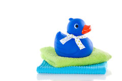Blue rubber duck Stock Photos
