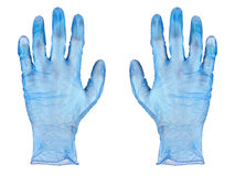 Blue rubber gloves. Isolated on white background stock photos