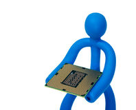 Rubber man with a processor isolated on white background Stock Photo
