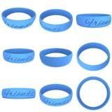 Blue rubber plastic stretch friends bracelet Royalty Free Stock Photo