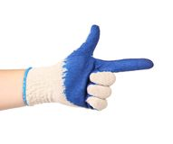 Blue rubber protective glove show sign like a gun Stock Photo