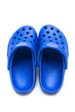 Blue rubber shoes royalty free stock images