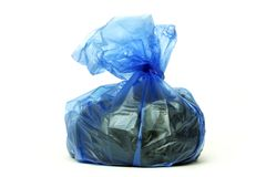 Blue rubbish bag Royalty Free Stock Image
