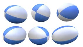 Blue rugby ball. 3D blue rugby ball X6 Stock Photos