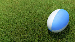 Blue rugby ball on grass. 3D blue rugby ball on grass V02 Stock Images