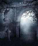 Blue ruins at night. Blue ruins with a cross at night Royalty Free Stock Image