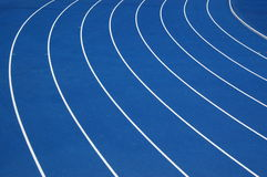 Blue running track. Turn of blue running track Royalty Free Stock Photography