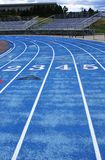 Blue Running Track. Royalty Free Stock Images