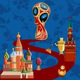 Blue Russia world cup football background. royalty free illustration
