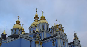 Blue russian church. With golden towers in Kyev Stock Photo
