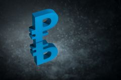 Blue Russian Currency Symbol Ruble With Mirror Reflection on Dark Dusty Background royalty free illustration