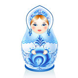 Blue Russian doll Matreshka in gzhel style Stock Photography