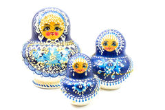 Blue russian dolls Royalty Free Stock Images