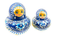 Blue russian dolls Stock Images
