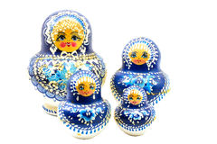 Blue russian dolls Stock Image