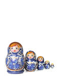 Blue Russian traditional wooden doll in line Royalty Free Stock Image