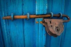 Blue, Rust, Wood, Metal Stock Images