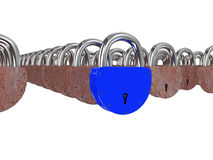 Blue and rusty padlocks Royalty Free Stock Image