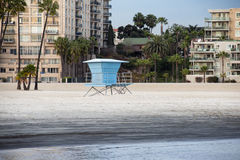 Blue safe guard tower on the beach Royalty Free Stock Image