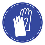 Blue safety gloves sign. Stock Photo