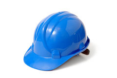 Blue safety helmet Stock Photo