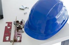 Blue safety helmet Royalty Free Stock Photo