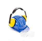 Blue safety helmet with earphones Royalty Free Stock Photos