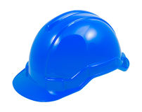 Blue safety helmet on white background Royalty Free Stock Images