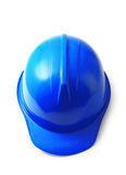 Blue safety helmet on white, hard hat isolated clipping path. Royalty Free Stock Photos