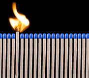 Blue safety matches Royalty Free Stock Photos