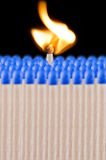 Blue safety matches Stock Images