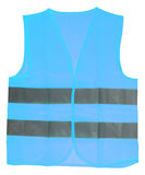 Blue Safety Vest. Safety vest in blue with reflective stripes isolated over a white background Stock Images