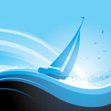 Blue sail boat Royalty Free Stock Photography