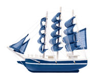 Blue sailboat with blue sails Stock Images
