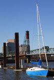Blue sailboat, Portland OR. Royalty Free Stock Photos