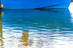 Blue Sailboat Reflection Westport Grays Harbor Washington State Stock Image