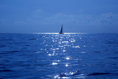Blue sailboat sailing mediterranean sea Royalty Free Stock Photo