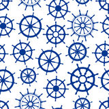 Blue sailing ships helms seamless pattern Royalty Free Stock Photos