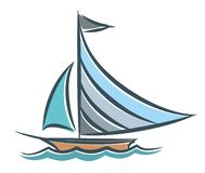 Blue sailing vessel in the sea. Royalty Free Stock Image