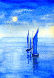 Blue Sails. Watercolor painting of two blue sailing boats out at sea Royalty Free Stock Images
