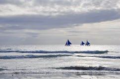Blue sails of Boracay Royalty Free Stock Photo