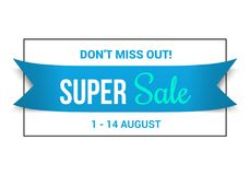 Blue Sale Banner. Don`t miss out super sale Royalty Free Stock Photography