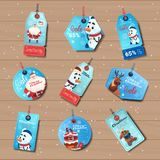Blue Sale Tages Christmas Shopping Discounts Stickers Collection On Wooden Background Stock Photos