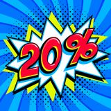 Blue sale web banner. Sale twenty percent 20 off on a Comics pop-art style bang shape on blue twisted background. Big Royalty Free Stock Photo