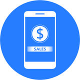Blue sales and dollars sign design in a flat round button Stock Images