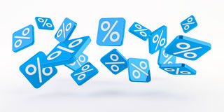 Blue sales icons floating in the air 3D rendering. Blue sales icons floating in the air on white background 3D rendering Stock Images