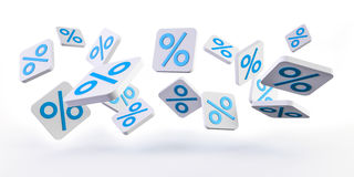 Blue sales icons floating in the air 3D rendering. Blue sales icons floating in the air on white background 3D rendering Stock Photos