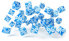 Blue sales icons floating in the air 3D rendering. Blue sales icons floating in the air on white background 3D rendering Royalty Free Stock Photography