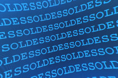 Blue sales pattern. A blue pattern repeating the word soldes Stock Photo