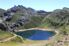 Blue Saliencia& x27;s lake full of water in Asturias Royalty Free Stock Photography